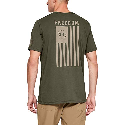 Freedom Womens Cut T-shirt - Under Armour Freedom Flag T-Shirt, Marine OD Green//Desert Sand, X-Large