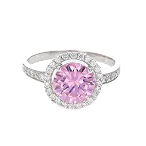 Vir Jewels Sterling Silver Pink and White CZ Ring from Vir Jewels