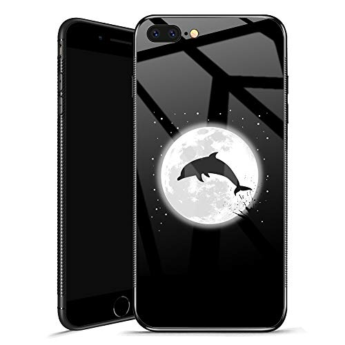 iPhone 8 Case,Dolphin Moon Tempered Glass iPhone 7 Cases for Girls, Individual Creative Fashion Personality Cool Cover Case for iPhone 7/8 Star Sky Jump
