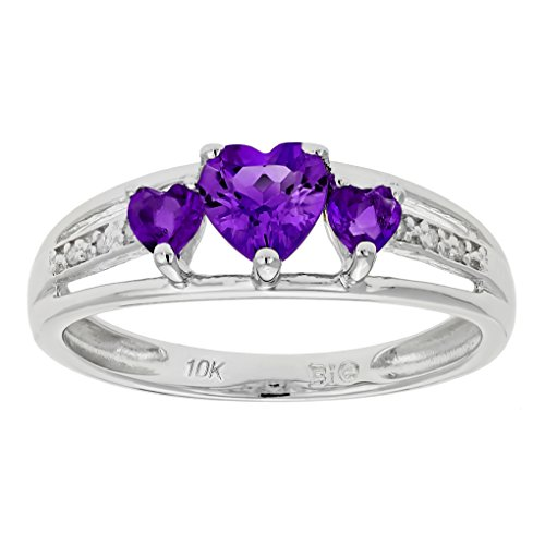 .60 Ct Triple Heart Purple Amethyst .018 cttw Diamond 10K White Gold Ring Size 8