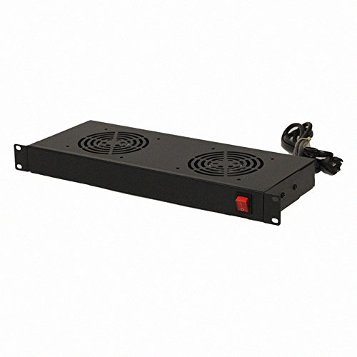 NavePoint Rack Cabinet Mounted Server Two Fan Unit Cooling System with 2 Fans 110V Blk 1U