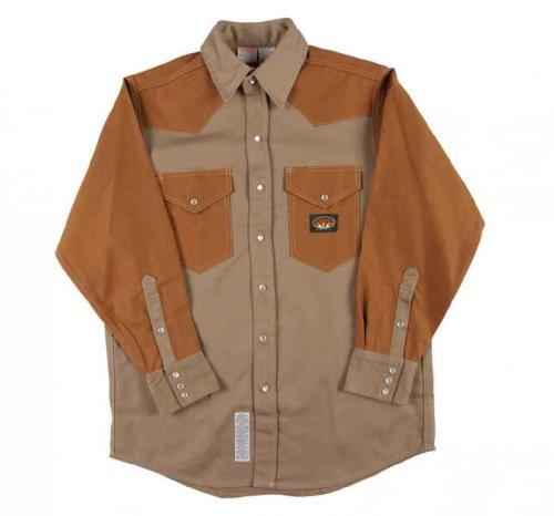2 Tone Western Shirt (Men's Rasco 10-oz. Fire Retardant Two Tone Long Sleeve Western Shirt, KHAKI/DUCK, XL)