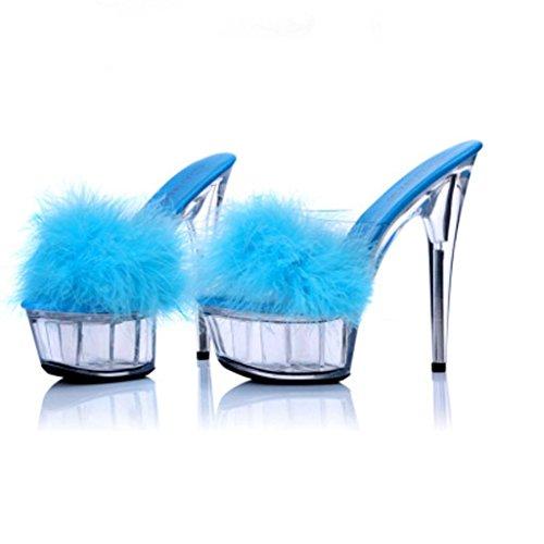 Zapatos Tacón Para Fondo Impermeable Zapatillas Plataforma Con Alto Blue De Modelo Transparente Finas Sandalias Grueso Mujer pUqBwxw6