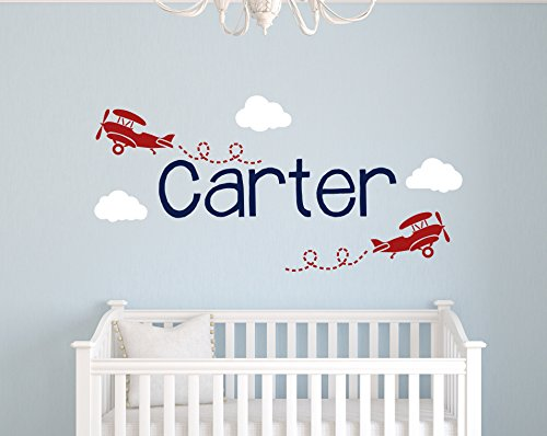 (Custom Airplane Name Wall Decal - Boys Kids Room Decor - Nursery Wall Decals - Boy Name Wall Decals)
