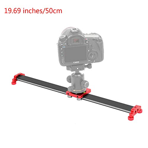 Dazzne 19.69 inches/50cm Camera Slider Dolly Track Video Stabilizer Rail with 4 precision stainless steel bearing for Smartphone, Nikon Canon Sony, Photograph Movie Film Video Making-Load 11.02 pounds