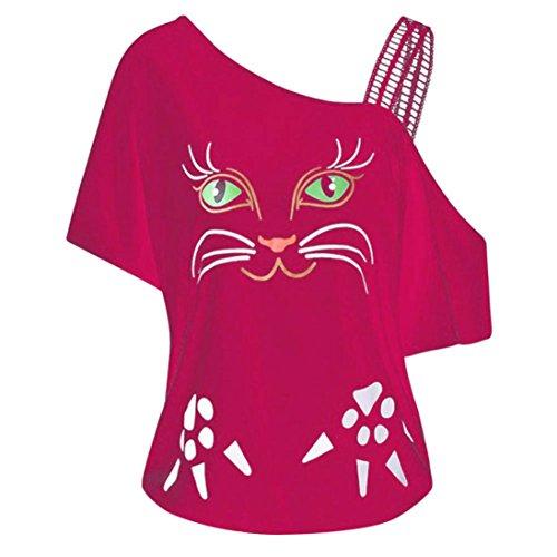 SANFASHION Bekleidung Camicia - con Bottoni - Tinta Unita - A Punta Tonda - Manica Corta - Donna Pink