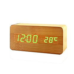 Wooden LED Digital Alarm Clock,BAESKI Voice Control Calendar Thermometer Wooden LED Digital Alarm Clock USB/AAA