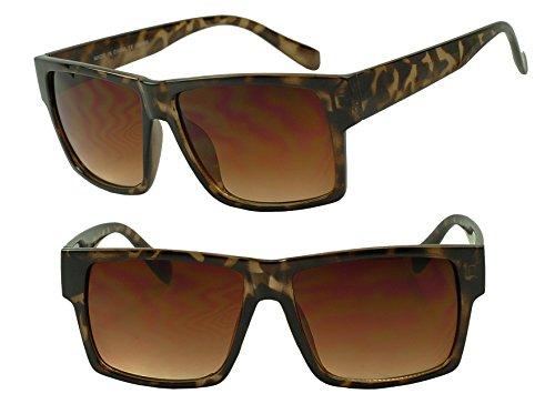 Sunglass Stop - Original Classic Old School Square Flat Top Gold Trim Sunglasses (Crazy Tortoise, - Sunglasses Locs Gucci