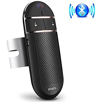 Bluetooth Car Speakerphone, SOAIY S-31 Wireless Bluetooth Car Kit with Auto Power Off Function, Voice Command Hands Free Phone Kit Supports GPS, Two Phone Connected for iPhone, Ipad, Samsung Galaxy,