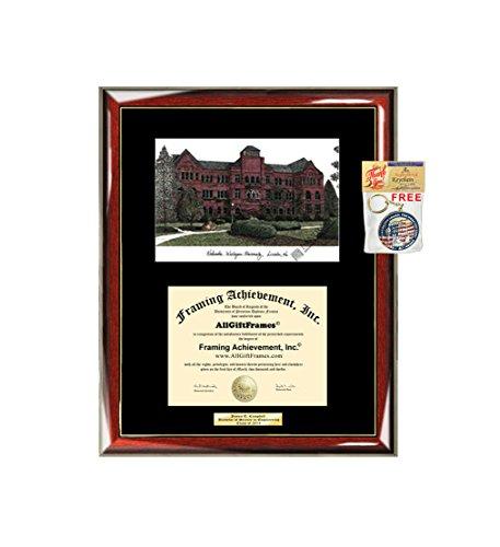 - Nebraska Wesleyan University Diploma Frame Lithograph NWU Degree Framing Glossy Prestige Mahogany with Gold Accents Single Black Mat Graduation University Diploma Frame