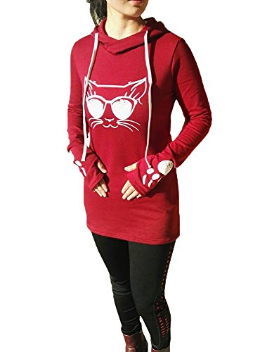 FISACE Womens Fashion Long Sleeve Hooded Sweatshirt Cat Face Paw Printing Pullover - Face Cat Small