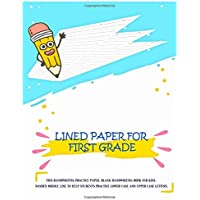 "Lined Paper For First Grade: Practice Paper Notebook Writing Letters & Words with Dashed Center Line, Handwriting Hooked Learn, Handwriting Workbooks For Kids, 8.5"" x 11"" 107 Pages"