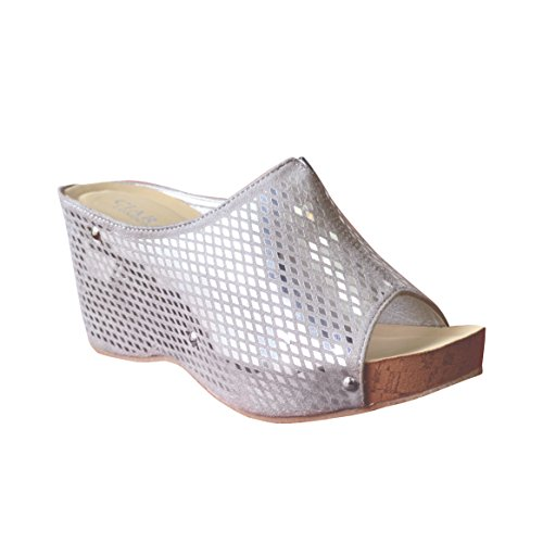 Upper Ladies Silver Wedge Ciara Slip Womens On Shiny Summer New Sandal 05qfwv