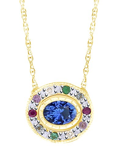 Wishrocks Oval & Round Cut Multi Gemstone Halo Pendant Necklace in 14K Solid Yellow Gold ()