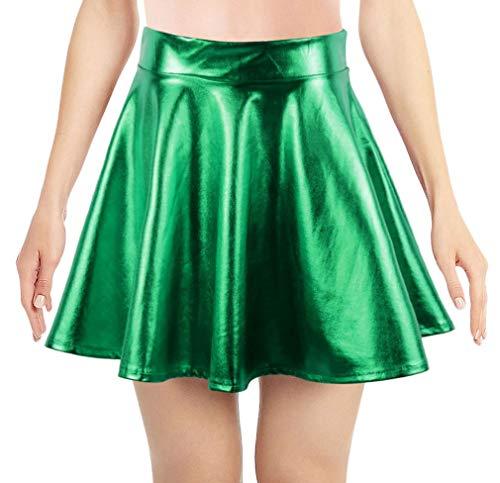 Simplicity Metallic Ballet Dance Flared Skater Skirt Fancy Dress, Grass Green -