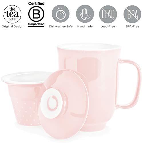 The Tea Spot, Steeping Mug, 3-Piece Handcrafted Porcelain Ceramic Tea Mug with Infuser & Lid, 16-Ounce (Blush)