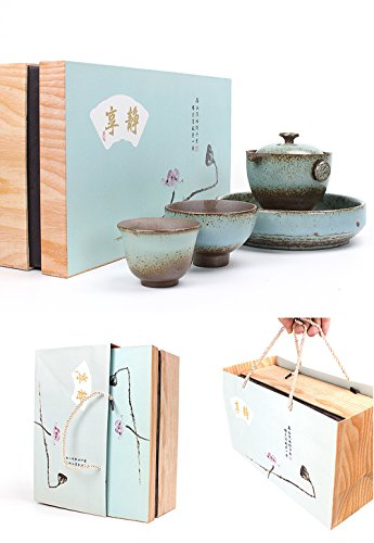 100% Handmade Chinese Kung fu Tea Portable Gift Package Travel Tea Set – Teapot  Teacups  Tea Tray  Gift Box