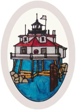 Silver Creek Maryland Thomas Point Lighthouse Painted Glass Suncatcher O-1055