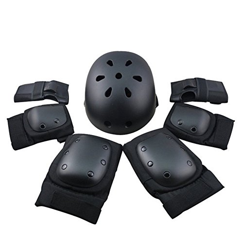 7Pcs Adults Protective Gear Set,Safety Helmet with Elbow,Knee,Wrist Pads Safeguard for Roller Skateboard Scooter Bicycle Bmx Bike Black L