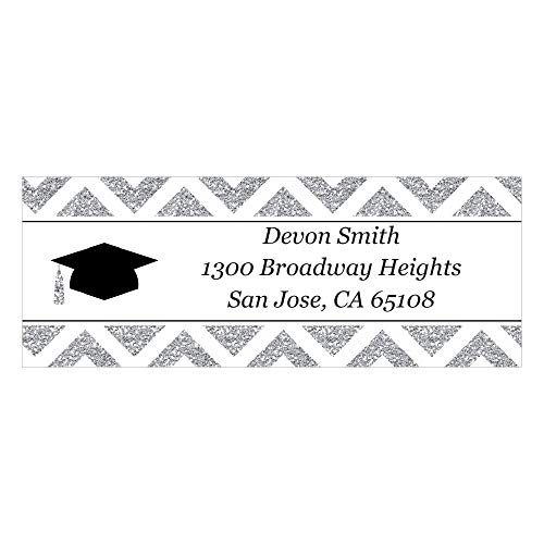 Custom Tassel Worth The Hassle - Silver - Personalized Graduation Party Return Address Labels - Set of 30