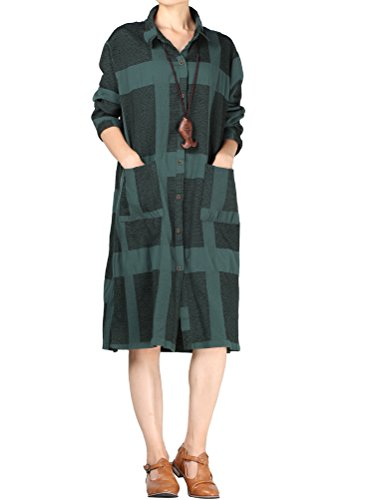 Blouse Nursing Overlay Pockets Green Mordenmiss s Button Closure Comfy Dress Women with Plaid nSqwY0