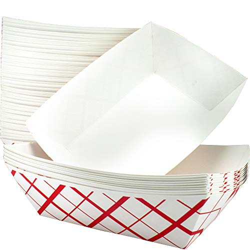 Heavy Duty, Grease Resistant 3 Lb Paper Food Trays 100 Pack. Durable, Coated Paperboard Basket Ideal for Festival, Carnival and Concession Stand Treats Like Hot Dogs, Ice Cream, Popcorn and Nachos. (Boat Basket)