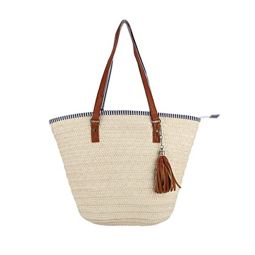 Sornean Summer Beach Straw Bag Top Handle Shoulder Bag Women Tote with Tassels (Cream White)