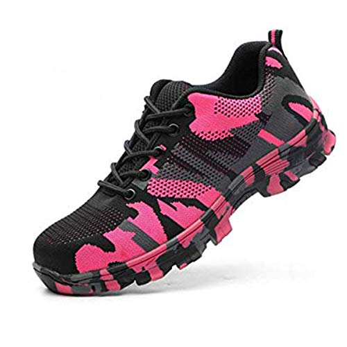 SUADEX Steel Toe Shoes Men, Womens Work Safety Shoes Industrial Construction Sneakers, Outdoor Hiking Trekking Trail Composite Shoes Camouflage Pink Size 8-8.5 Women / 6.5-7 Men