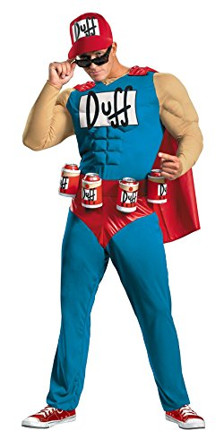 UHC Men's Classic Muscle The Simpsons Duffman Theme Party Dress Costume, XXL (50-52) - Simpsons Duffman Classic Muscle Adult Mens Costumes