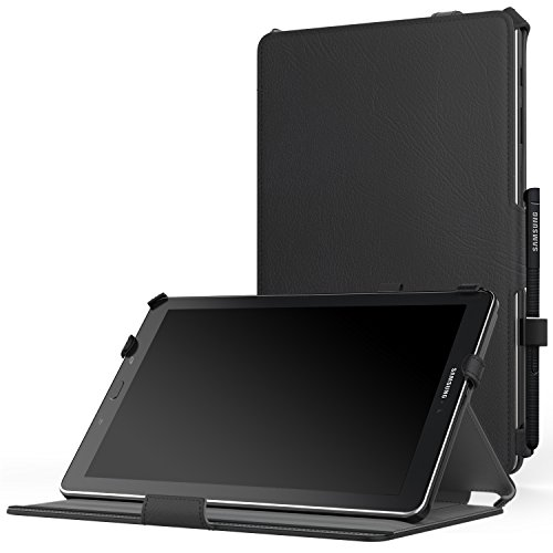 "MoKo Samsung Galaxy Tab A 10.1 with S Pen Case - Genuine Leather Slim-Fit Multi-angle Folio Cover Case with Auto Wake/Sleep for Samsung Galaxy Tab A 10.1"" Tablet (SM-P580/SM-P585 S Pen Version), BLACK"