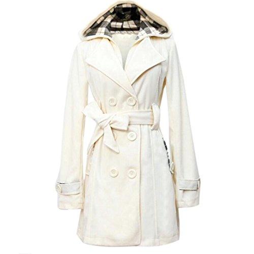 Coversolate Mujer Calentar Invierno Sección larga Abrigo Encapuchado Cinturón Doble Botonadura Chaqueta Blanco