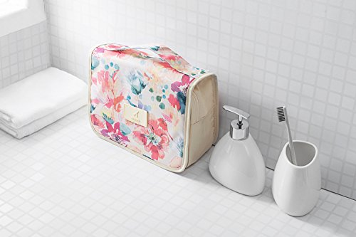 Hanging Toiletry Bag - Portable Travel Makeup Comestic Organizer - Durable Hanging Hook - for Women & Men, Perfect for Comestic, Personal items, Shampoo, Body wash (flower)