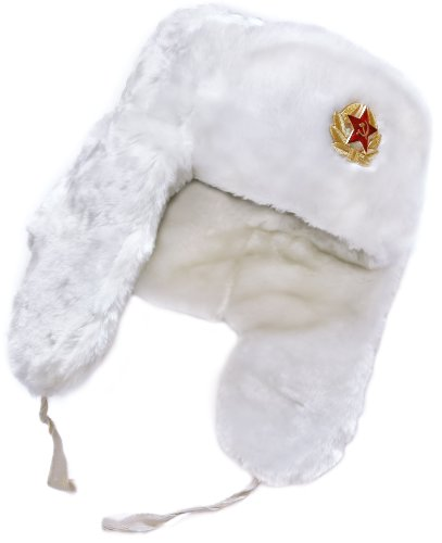 White Winter Hat with Earflaps: Russian Ushanka. Size-55, with Soviet soldier insignia