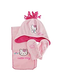 Hello Kitty Girls Winter Hat Scarf And Gloves Set (2-4 Years) (Pink)