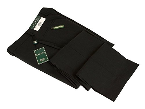 Ralph Lauren Men's Flat Front Solid Black Wool Dress Pants - Size 38 x30