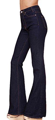 - Tengfu Women's Classic Stretchy High Waist Slim Denim Black Flared Bell Bottoms Jeans
