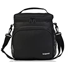 "Insulated Lunch Bag: InsigniaX Adult Lunch Box For Work, Men, Women, Boys, Girls With Adjustable Strap, Front Pocket and Side Pocket [Unisex Lunch Bags] . Size H: 8.4"" x W: 9.1"" x L: 6.3"" (Large, All Black)"