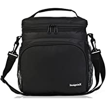 """Insulated Lunch Bag S1: InsigniaX Cool Lunch Box/Cooler/Lunchbox for Adult Women Men Work School Kids Girls Boys With Shoulder Strap Water Bottle Holder H: 10"""" x W: 5.1"""" x L: 9.2"""" (Large, Black)"""