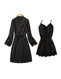 Chinashow Womens Satin Pajamas Set Sexy Ice Silk Suit Set Sleepwear/Nightwear Clothes, Black #C