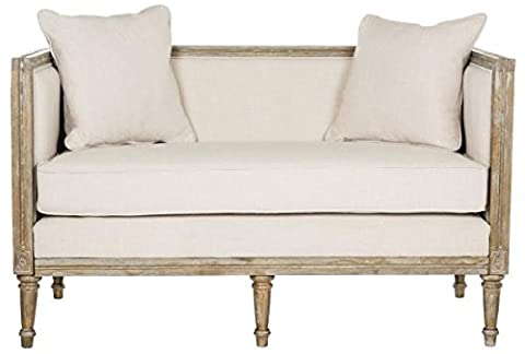 Safavieh FOX6237A Home Collection Leandra French Country Settee, Beige/Rustic Oak - French Country Living Room Furniture