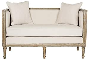 Safavieh FOX6237A Home Collection Leandra French Country Settee, Beige/Rustic Oak