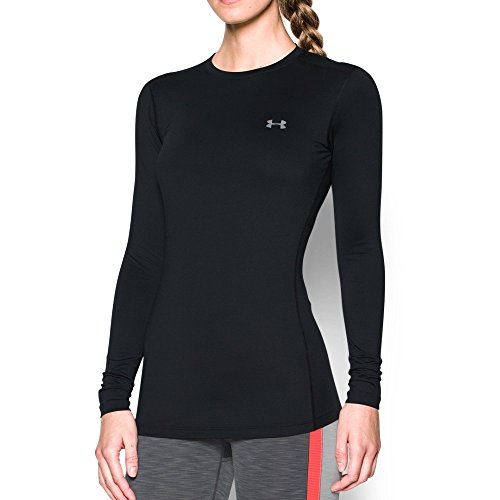 Under Armour Womens ColdGear Authentic Crew, Black (001)/Silver, Small