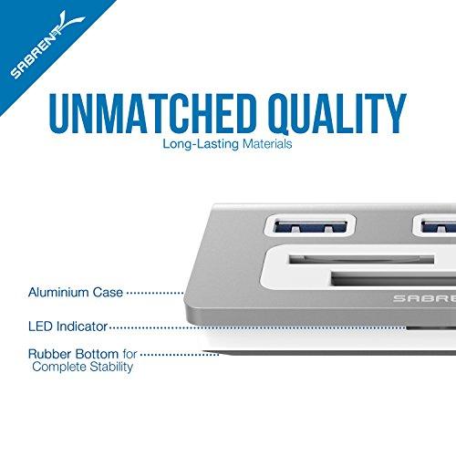 Sabrent Premium 3 Port Aluminum USB 3.0 Hub with Multi-In-1 Card Reader (12 cable) for iMac, MacBook, MacBook Pro, MacBook Air, Mac Mini, or any PC (HB-MACR)