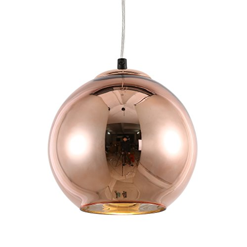Pendant Copper Light (mirrea Modern Kitchen Island Lighting Mini Globe Pendant Light 1 Light in Copper Globe Shade)