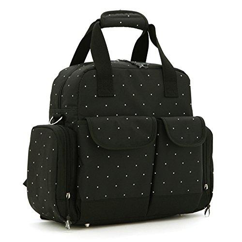 Salir para ser el paquete producido, bolso de la momia, bolso de hombro, solo hombro de gran capacidad con tres bolsos, bolso de la madre, bolso del bebé de la madre ( Color : Khaki ) Negro