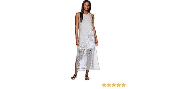 644439480431 Vince Camuto Womens Sleeveless Island Floral Chiffon Overlay Maxi Dress