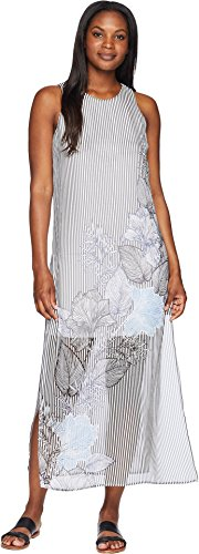 Vince Camuto Womens Sleeveless Island Floral Chiffon Overlay Maxi Dress Rich Black LG (Floral Island)