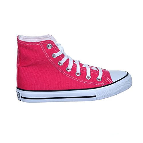 NEW STYLE!! Womens High Top Canvas Skate Sneakers Fuchsiatpp