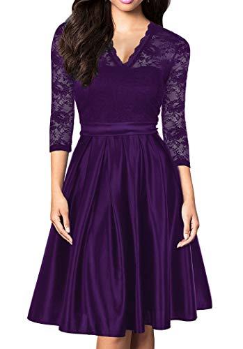 Mmondschein Women Vintage 1930s Style 3/4 Sleeve Black Lace A-line Party Dress L Purple