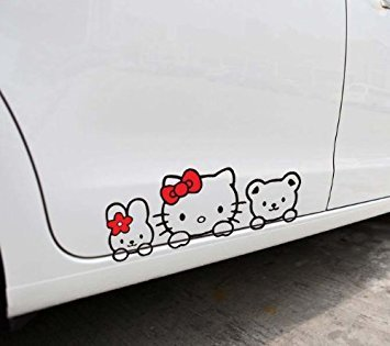Hello Kitty 29*11CM Car Decoration Stickers Black Color DF-0